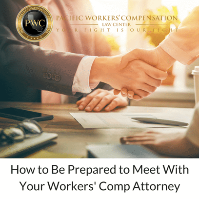 How to be prepared to meet with your worker's comp. attorney. Image of two people shaking hands.